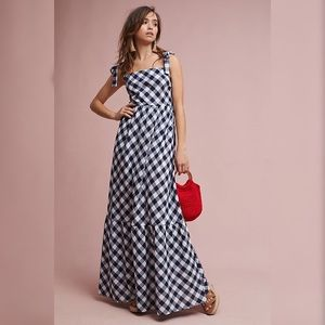 Anthropologie Tiered Gingham Maxi Dress by Steele